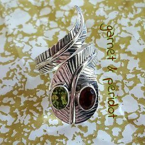 Peridot Garnet Snake Wrap Ring Sterling